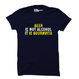 beer is bournvita PRINTED T-SHIRT navy blue the crayontee shop
