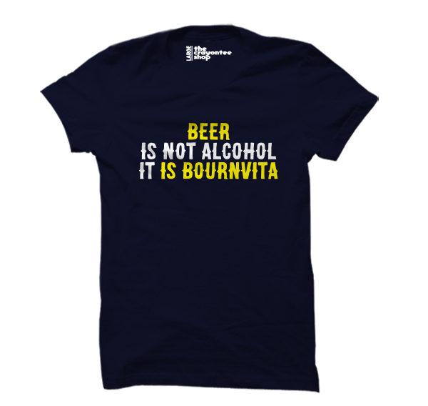 beer is bournvita PRINTED T-SHIRT navy blue the crayontee shop