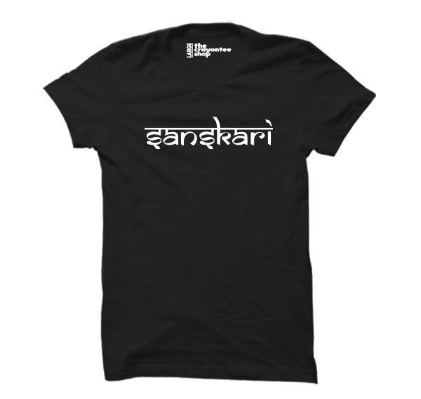 sanskari printed T-shirt black the crayontee shop