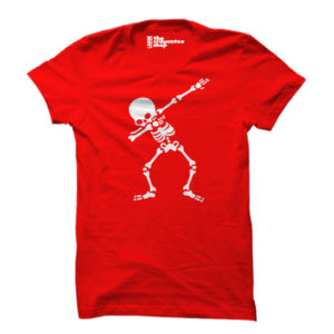 skeleton dab PRINTED T-SHIRT red the crayontee shop