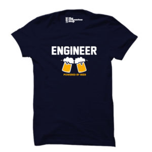 ENGINEER POWERED BY BEER PRINTED T-SHIRT NAVY BLUE CRAYONTEE