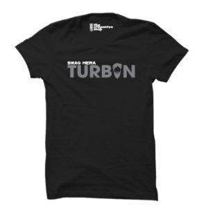 SWAG MERA TURBAN PRINTED T-SHIRT BLACK CRAYONTEE
